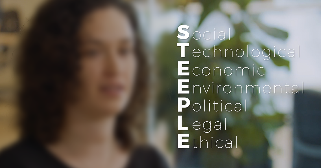 STEEPLE stands for social, technological, economic, environmental, political, legal, and ethical.